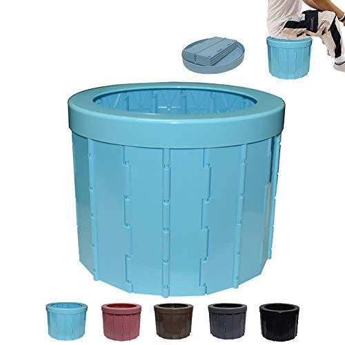 JXHD WC Camper Portatile Toilette,Auto Mobile Portatile di Emergenza Pieghevole per Adulti di Ingorgo Stradale di Servizi Igienici per Auto,Blue