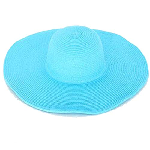 Seaside Sun Visor Hat Female Summer Sun Hats for Women Large Brimmed Straw Sun Hat Folding Beach Girls Wholesale,Sky Blue,54-58Cm