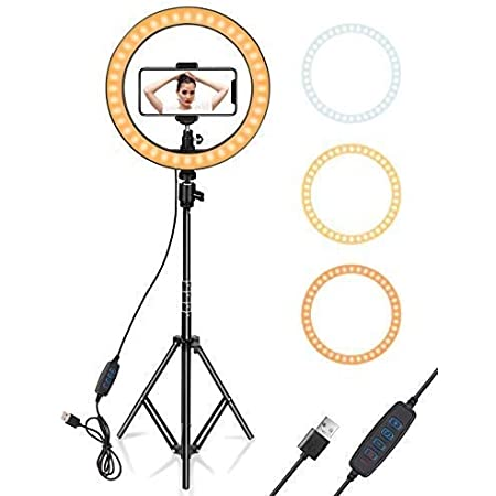 SHYLOC 10 inch Selfie LED Ring Light with 3 Light Modes with Adjustable 7 Feet Tripod Stand Cell Phone Holder for Live Stream/Makeup/YouTube Video (Ring Light with Stand)