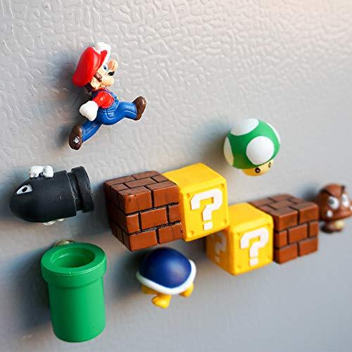 xunlei Super Mario Juguetes 10pcs 3D Super Mario Bros. Fridge Magnets Refrigerator Message Sticker Funny Girls Boys Kids Children Student Toys Birthday Gift