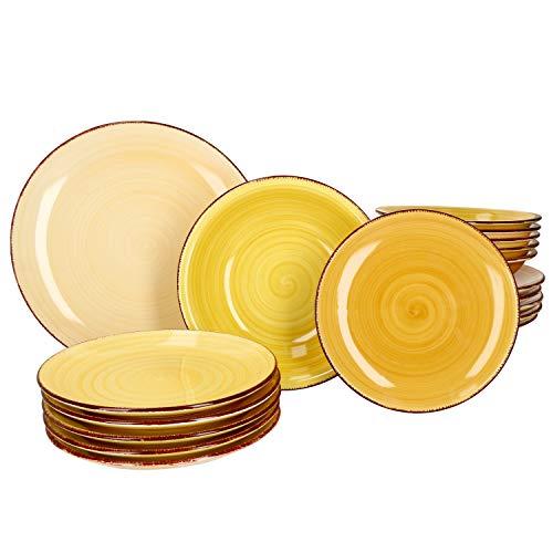 MamboCat Yellow Baita 18-TLG. Teller-Set gelb I Robustes gelbes Steingut-Geschirr für 6 Personen I je 6X Flache Speiseteller - Tiefe Suppenteller - kleine Kuchenteller I gelbe Teller 18 Teile