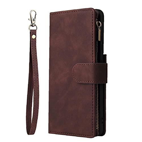 Tuimiyisou Wallet Schutzabdeckung, Handschlaufe, Mappe Schutzabdeckung, Klappdeckel, Verstellbarer Verschluß, mit Kartenschlitz, kompatibel mit S21 Ultra-5G 6,8 Inch Drahtlose Kaffee Lade