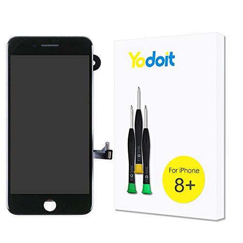 Yodoit para Pantalla iPhone 8 Plus Completa Negro, Conjunto de LCD y digitalizador Reemplazo de la táctil de vidrio con marco Repuestos (cámara frontal, Altavoz Auricular) + Herramienta (5,5 pulgadas)