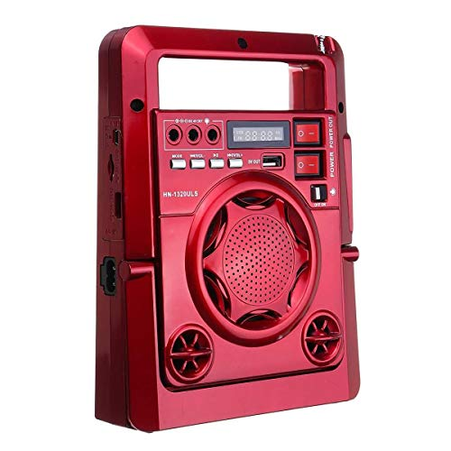 Radio de emergencia, solar al aire libre de 2200 mAh, batería de carga Am/fm Radio móvil con luz LED Tf altavoz USB, utilizado para energía de emergencia del teléfono (color rojo)