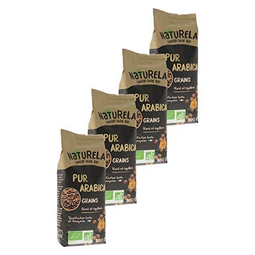 Naturela Café Grains Bio Pur Arabica - 500 g - Lot de 4