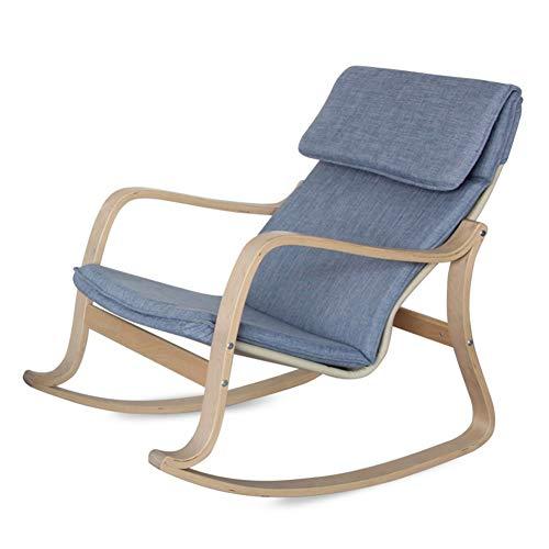 LIXIONG Mecedora Marco de Abedul Salón Sillones con/extraíble Almohada Sling Chair Tapizado Asiento Acolchado Ergonómico diseño para Sala, 8 Estilo (Color : Blue, Size : A)