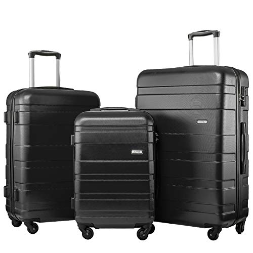 Merax Set of 3 Luggage Lightweight Hard Shell 4 wheel Travel Trolley Suitcase Set Holdall Case-20/24/28 inches (Black)