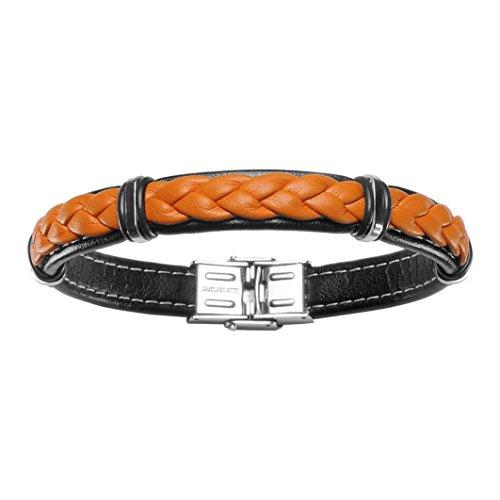So Chic Bijoux-Pulsera para hombre 20 cm cuero trenzado, Orange & de acero inoxidable,...