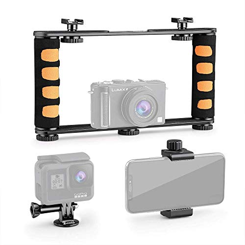 Zeadio Metal Adjustable Video Rig, Handle Grip Stabilizer, Fits for All iPhone and Android Smartphones Action Camera Compact Camera