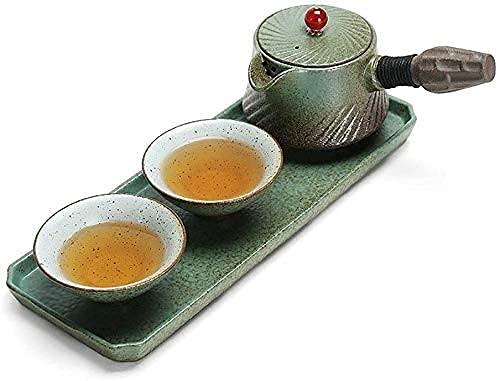 FHKBK Tetera de Hierro Fundido de Estilo japonés con infusor, Juego de Tazas de té de Porcelana de cerámica, decoración del hogar, Regalo, Tetera esmaltada con asa y Taza de té, Adecuada