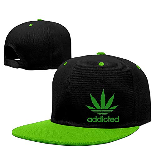 fjfjfdjk Addicted Cannabis Weed Leaf Caps Men's Hip Hop Vintage Snapbacks Screen-Print Unisex Strapback Hat