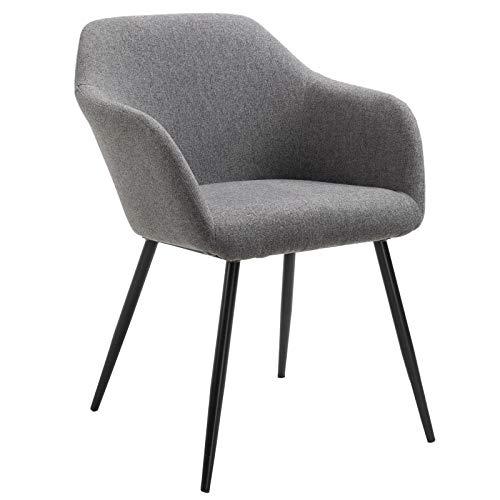 IDIMEX Chaise ENEGO pour Salle à Manger ou Cuisine Fauteuil de Table ou de Bureau au Design scandinave avec Assise rembourrée et 4 Pieds en métal laqué Noir, revêtement en Tissu Gris foncé