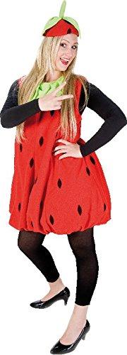 Mottoland Damen Kostüm Erdbeere aus Plüsch zu Karneval Fasching