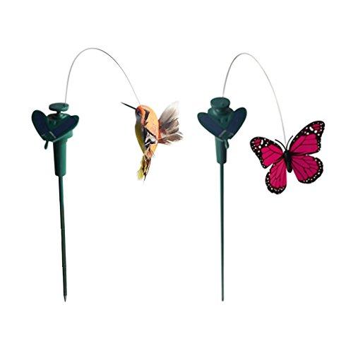 CUTICATE 2 Stück Solar Wackel flattern Schmetterling/Kolibri/Sonnenblume für Patio Garten Garten Pfahl Pflanzen Blumen Outdoor Hochzeit Dekor