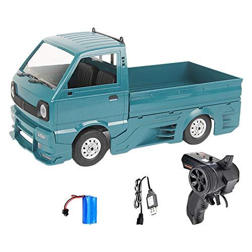 Perfeclan WPL D12 RC camión Coche 1/10 Escala 2WD simulación Cepillado 260 Motor LED luz 4WD Escalada Coche con Kit de Cerco de Cuerpo para niños Adultos - Verde