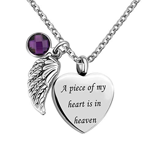 SexyMandala Urn Necklace for Ashes Heart Love Angel Wing Charm 12 Colors Crystal Birthstone -A Piece of My Heart is in Heaven/Deep Purple