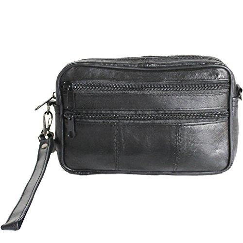 Herren Handgelenktasche Handtasche Tasche Echt Leder Geld Bag Umhängetasche 2#2