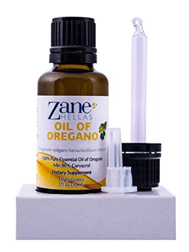 Zane Hellas 100% huile d'origan non diluée.Huile Essentielle Grecque Pure d'Origan.86% Min Carvacrol.129 mg de carvacrol par portion.Probablement la meilleure huile d'origan au monde.1 oz-30ml
