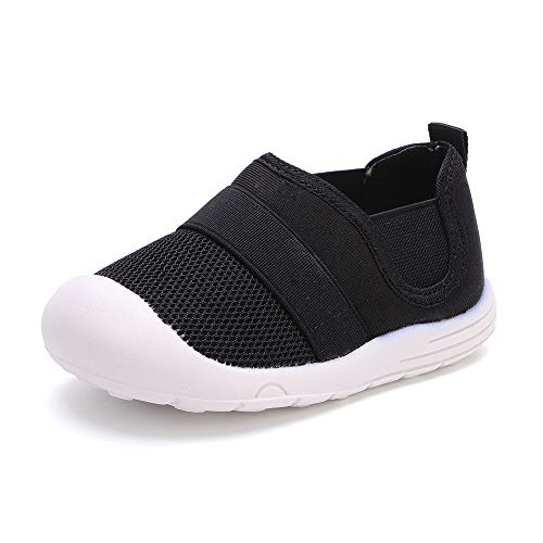 peggy piggy Baby Shoes Boy&Girl Infant Sneakers Non-Slip First Walking Shoes Breathable Mesh Shoes 6 9 12 18 Months(20312-blk-17)