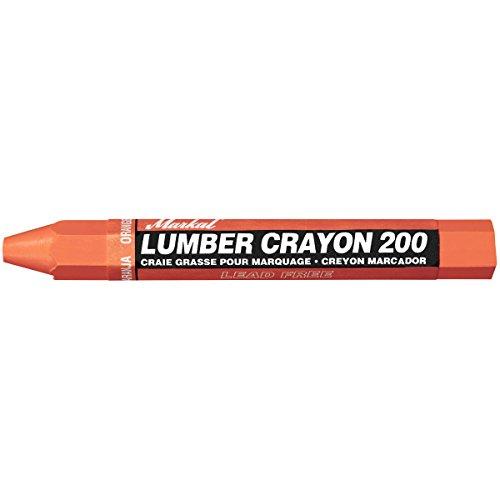 Markal 200 Lumber Crayon Economical Wax Based Marker, 1/2' Hex, 4-5/8' Length, Orange (Pack of 12)
