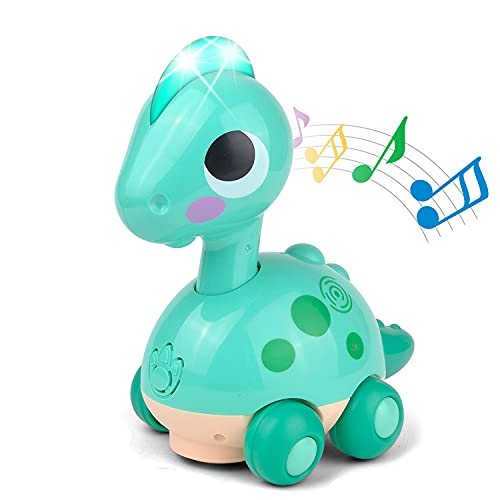 Kidpal Baby Toy Car 6 to 12 Months for Boys &Girls ,Dinosaur Walking Car Toys with Light and Music for Kids 1 2 Year Old,Universal Wheel Educational Toy Car Learning Toy Gifts for 18-24 Months
