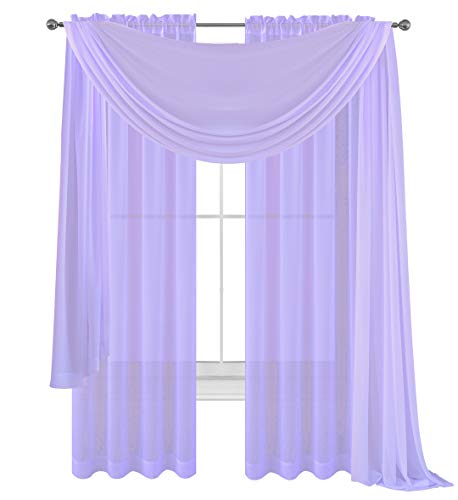 Drape/Panels/Scarves/Treatment Beautiful Sheer Voile Window Elegance Curtains Scarf for Bedroom & Kitchen Fully Stitched and Hemmed,Set of 3: Panels 2 + 1 Scarf (Lavender, 3 Piece Panels+Scarf)