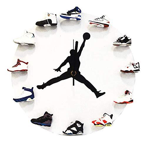 WANGT 12'Relojes De Pared Grandes, 3D Mini Zapatilla De Deporte Reloj Redondo Vestuario Jugador De Baloncesto DecoracióN De La Sala De Descanso,A