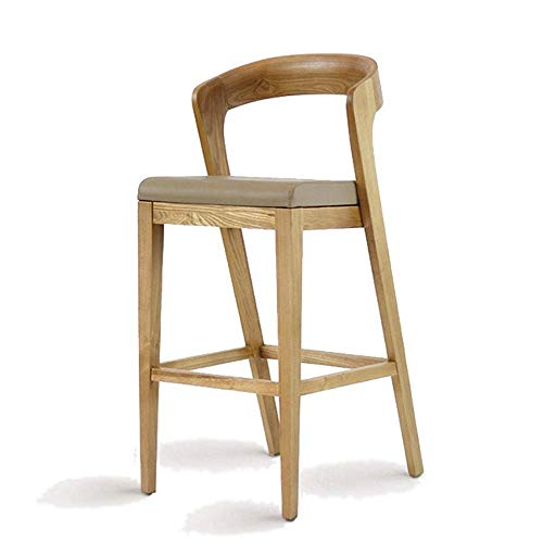 IREANJ Sedia Cucina Colazione Barra Piena in Legno Sgabello con Schienale in Pelle Sedile Dining Chair (Colore: Legno, Size: 52 * 45 * 102 cm)