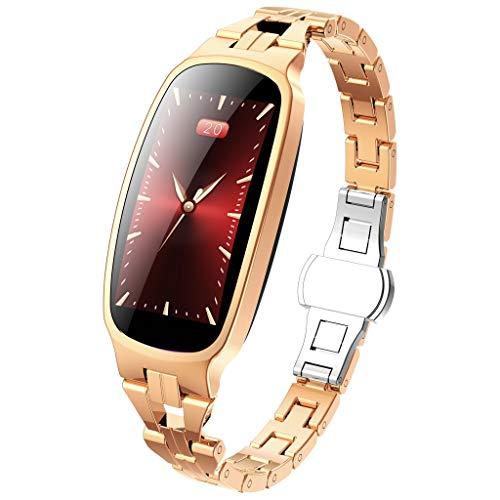 Reloj inteligente para mujer, reloj deportivo, ciclo fisiológico femenino, podómetro, pulsómetro, impermeable, natación, running, reloj inteligente, vibración, cronómetro, color dorado