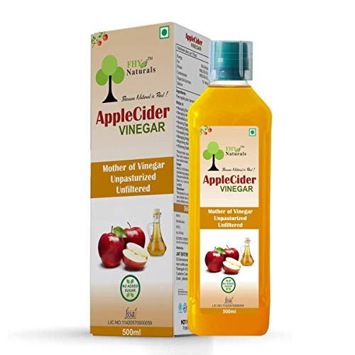FHY Naturals Apple Cider Vinegar with Mother of Vinegar Unpasturized Unfiltered 500ML - Not From Concentrate