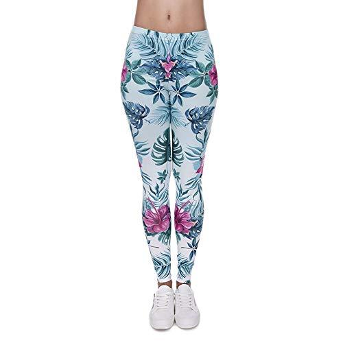 PFJWFE Frische Frauen Leggings 3D Druck Dschungel Blume Dünne Jeggings Sexy Leggins Tayt Fitness Legging