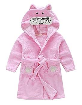 Little Girl s Unisexy Kids Coral Fleece Bathrobe Robe Pink cat 2-3T Height 35.5 -39.4 /90-100cm