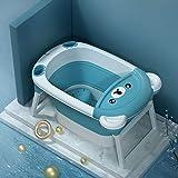 LAX - Bañera plegable para bebé, piscina infantil con taburete, asiento de baño para niños pequeños