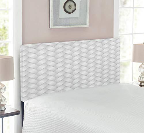 Lunarable Grey Headboard, Modern Knit Style Wicker Graphic Artprint Simple Linked Patterns City in Boho Design Art, Upholstered Decorative Metal Bed Headboard with Memory Foam, Twin Size, Silver Grey