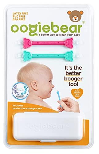 oogiebear - Herramienta patentada para eliminar mocos y cera - 2 unidades - Rosa y Turquesa (Raspberry/Seafoam)