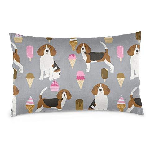 Fundas de cojín de terciopelo rectangulares, fundas de almohada decorativas suaves para sofá, dormitorio, coche, 40,6 x 60,9 cm (Beagle Ice Cream Dog Raza Verano Postre Food Grey)