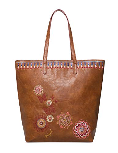 Desigual - Bag Chandy Rio Zipper Women, Shoppers y bolsos de hombro Mujer, Marrón (Marron), 12x37x29 cm (B x H T)