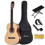 Donner DCG-1 クラシックギター フルサイズ クラシック スプルース製 足台&サムピック付 初心者セット (39インチ)