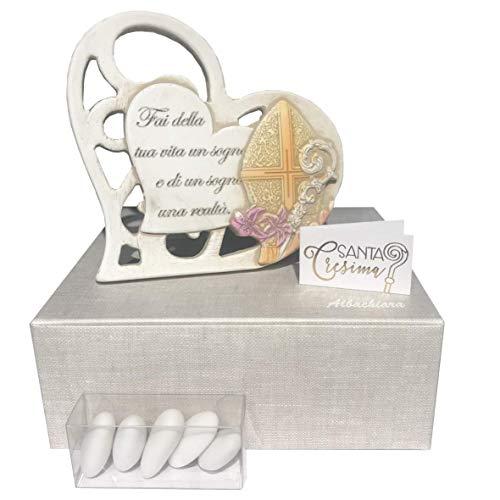 Regalami.shop, cuore bomboniera Cresima, in marmoresina con bassorilievo, cm. 11x11, completa di scatola, confetti e bigliettino