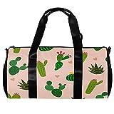 Bolsa de viaje para mujeres y hombres, muchos cactus con mini corazón en el fondo, deportes, gimnasio, bolsa de viaje durante la noche, bolsa de equipaje al aire libre