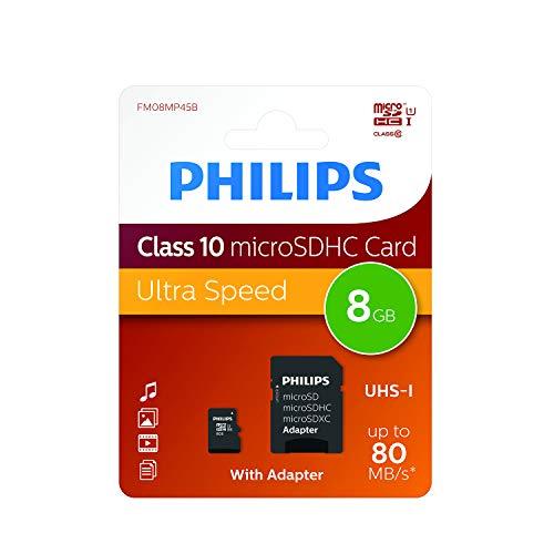 Philips FM08MP45B/10 Klasse 10 Micro SD 8GB Speicherkarte mit Adapter