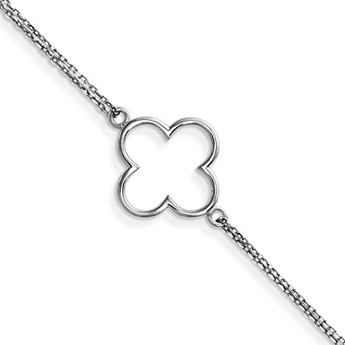 ICE CARATS 14kt White Gold Bracelet Double Chain Small Quatrefoil Design 7 Inch Contemporary Fine Jewelry Ideal Gifts For Women Gift Set From Heart