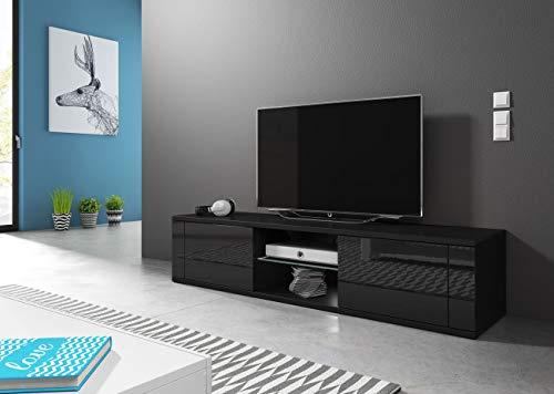 WFL GROUP Mobile TV Stile Contemporaneo - per TV Fino a 55' -140 cm - Nero Lucido