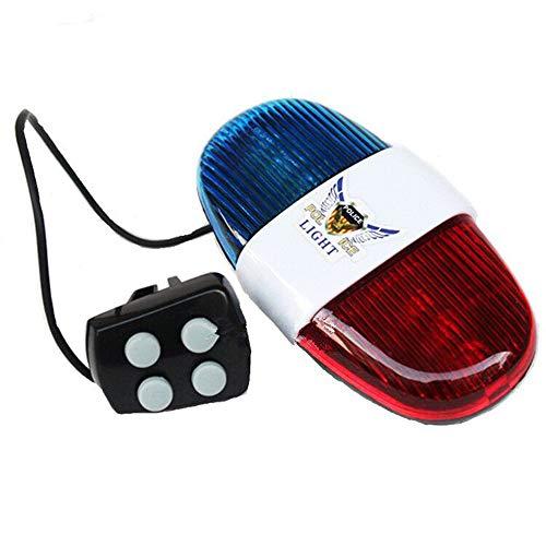 IWILCS Fahrrad Polizei Sirene, Fahrrad Elektronisches Horn Rücklicht Für Elektronisches Fahrrad-licht Mit 4 Tönen Laut Polizei Sirene Fahrrad Trompete Radfahren Horn-Bell-licht, Blau Rot