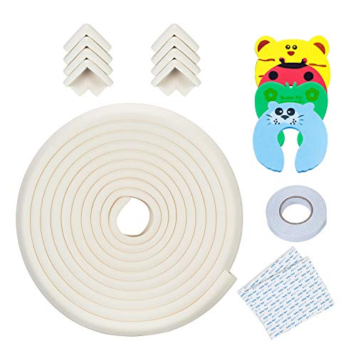 44pcs Baby Proofing Kit 12 Corner Guards 6 Cabinet Locks 1 Edge Bumper Strip 4 Right Angle+4 Long Locks Child Safety Protection Set 4 Door Stoppers 12 Socket Covers 1 roll Double-Sided Tape
