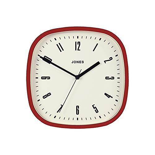 JONES CLOCKS Marvel Wanduhr, quadratisch, Retro-Design, Mattes schwarzes oder grau, mit cremefarbenes Zifferblatt, 30 cm (Rot)