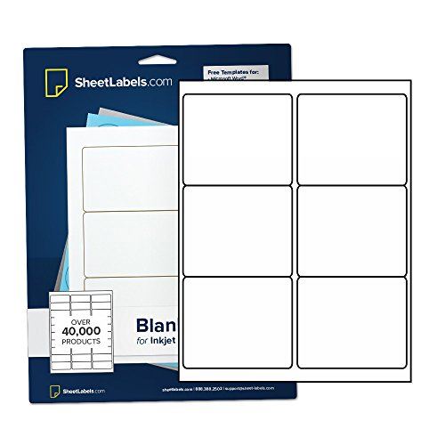 Shipping Labels from SheetLabels.com, 3-1/3' x 4', Laser or Inkjet Printable, Easy to Peel, 600 Labels - 100 Sheets