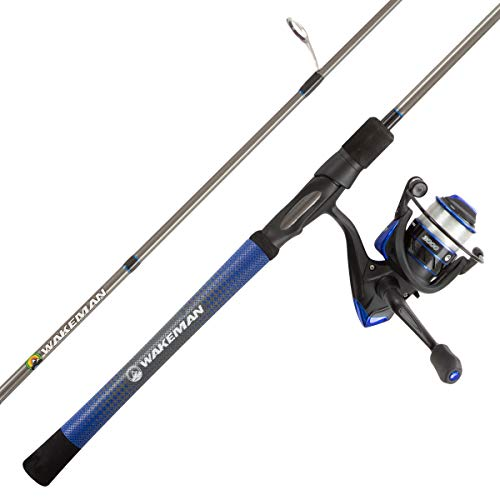 """Fishing Rod & Reel Combo- 6'6"""" Carbon Pole, Spinning Reel & Golf Grip Handle- Bass, Trout & Lake Fish- Channel Series by Wakeman Outdoors (Blue)"""