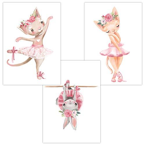 Wandbilder 3er Set für Baby & Kinderzimmer Deko Poster | Kunstdruck DIN A4 ohne Rahmen und Dekoration Tiere Mädchen (W06 Ballerina Cats/Katze Hase Blumen)