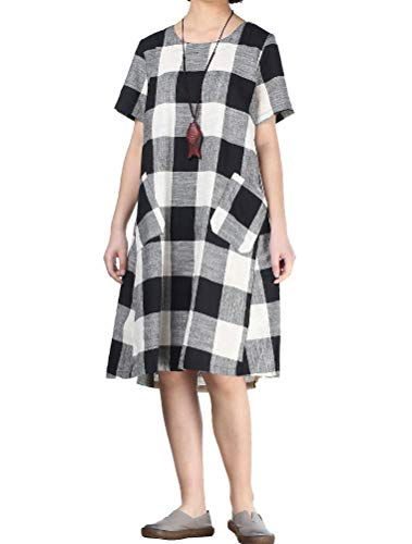 Women's Linen Shirt Dresses Summer Casual Short Sleeve Plaid Tunic Midi Dress 5